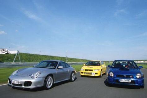 Porsche gegen Mitsubishi und Subaru