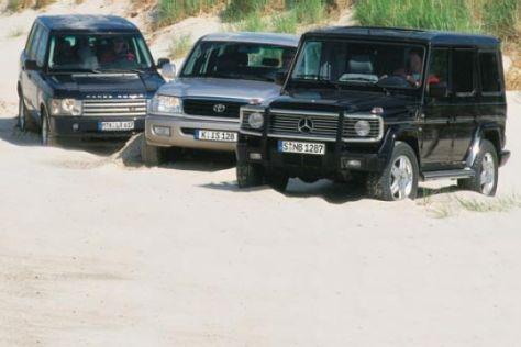 Mercedes G, Range Rover, Toyota LandCruiser