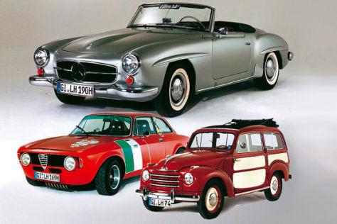 Mercedes 190 SL (oben), Alfa GT 1300 Junior (u.l.) und Fiat Topolino Belvedere