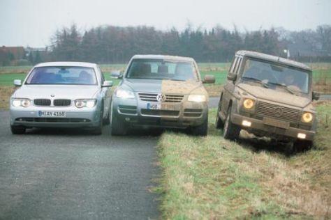 VW Touareg gegen BMW 7er und Mercedes G 400