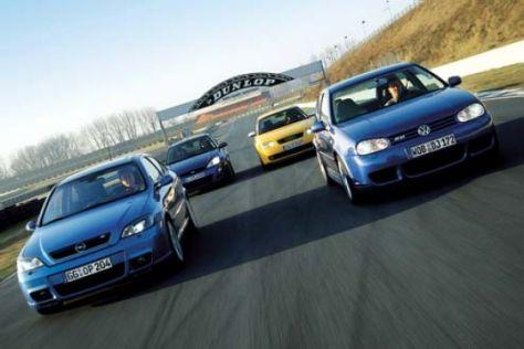 Audi S3, Astra OPC, Golf R32 und Focus RS