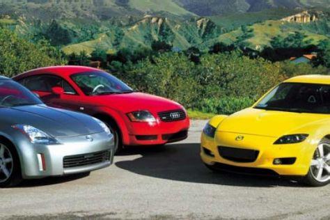 Audi TT gegen Mazda RX-8 und Nissan 350Z