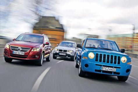 BMW X3 2.0 i, Jeep Patriot 2.4 Sport, VW Tiguan 1.4 TSI Sport & Style