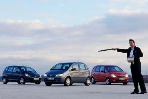 Fiat Idea gegen Honda Jazz und Opel Meriva