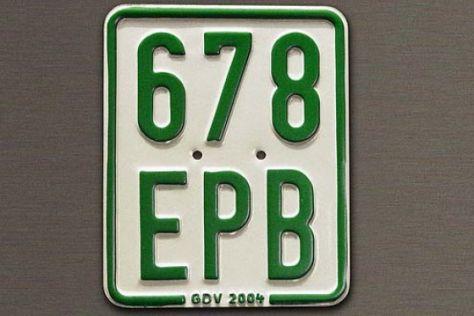Grünes Kennzeichen für Mopeds