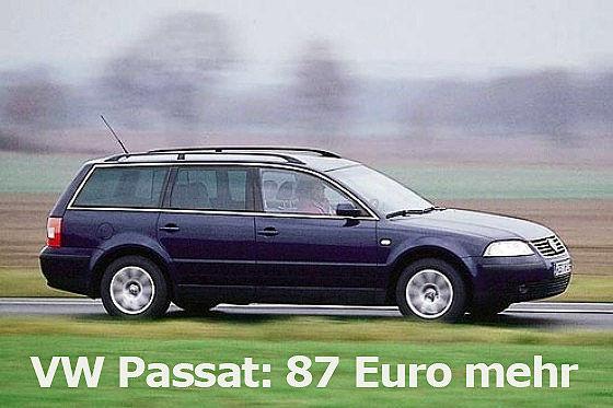 395 Euro statt bisher 308 Euro Steuern für einen Passat 2.0 TDI:
