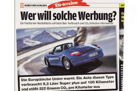 Brauchen wir solche Werbung? Die EU will Autohersteller verpflichten, ab 2010 Warnhinweise über Verbrauch und Schadstoffausstoß in die Reklame zu integrieren.