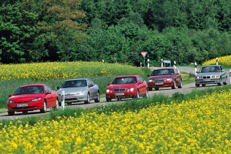 Ford Cougar 24V Peugeot 406 Coupé 3.0 V6 Mercedes-Benz CLK 230 K Volvo C70 2.4T BMW 323i Coupé