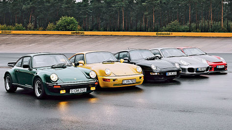 Fünf Porsche Turbo im Vergleich