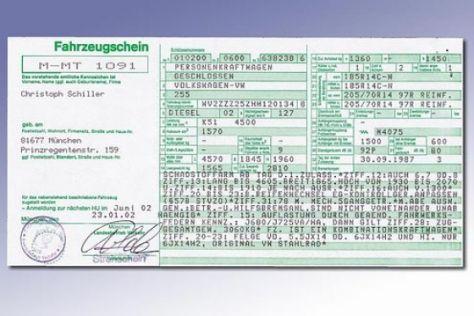 Neue Kfz-Papiere ab Oktober 2005