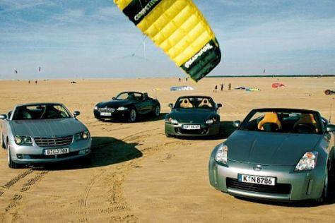 Vier Rasse-Roadster im Vergleich