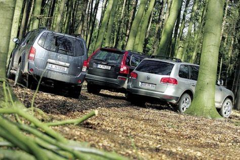 Nissan Pathfinder gegen XC90 und Touareg