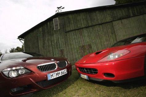 BMW M6 fordert Ferrari 575M F1