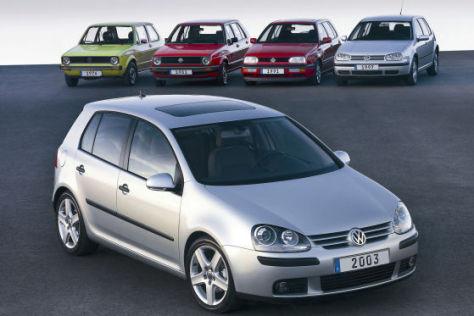 Sechs Generationen VW Golf