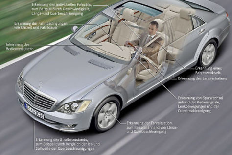 Mercedes-Assistenzsystem warnt den Fahrer vor Übermüdung.