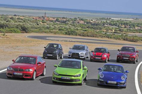 Porsche 911 Carrera 4S, VW Scirocco 2.0 TSI, BMW 135i, Mitsubishi Lancer Evo X, Mini John Cooper Works, Smart fortwo Brabus, BMW X6 50i