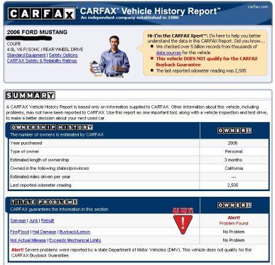 Der Carfax-Report zeigt wichtige Informationen zum Zustand und Lebenslauf eines Fahrzeuges aus den USA