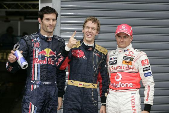 Das Quli-Triumvirat: Mark Webber, Sebastian Vettel, Heikki Kovalainen (von links)