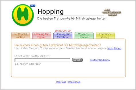 """Mitfahrbörse """"Hopping"""""""