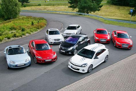 Opel Astra OPC Opel Corsa OPC, Mercedes-Benz E 63 AMG Mercedes-Benz C 63 AMG, Audi TTS Audi S5, Mazda MX-5 Mazda RX-8