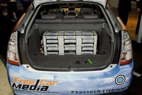 Der Batterieblock in einem Toyota Prius.
