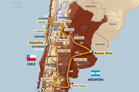 Streckenplan Rallye Dakar 2009