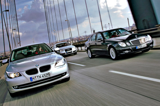 Audi A6, BMW 520i, Mercedes E200