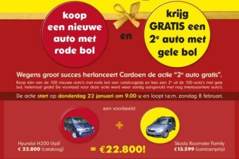 Das belgische Autohaus Cardoen verkauft zwei Autos zum Preis von einem.