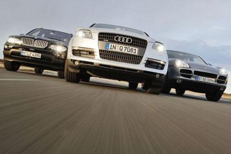 Audi Q7 gegen X5 und Cayenne S