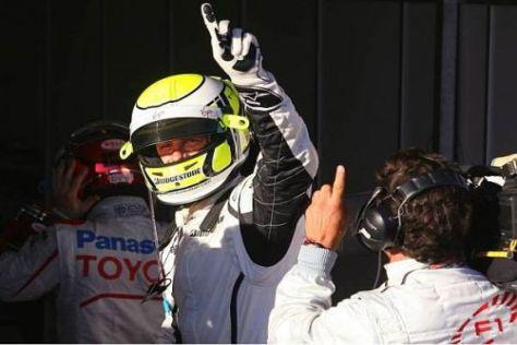 Jenson Button jubelt über die erste Pole für Brawn im ersten Rennen