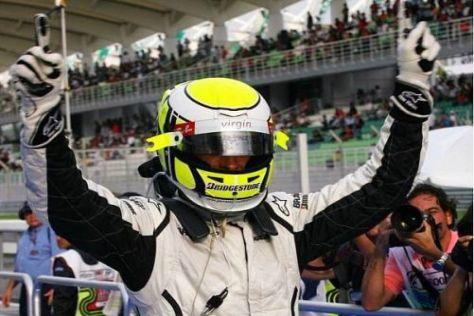 Jenson Button jubelt über die zweite Pole Position en suite