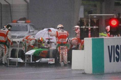 Adrian Sutil wartete vergeblich auf den Restart des Rennens