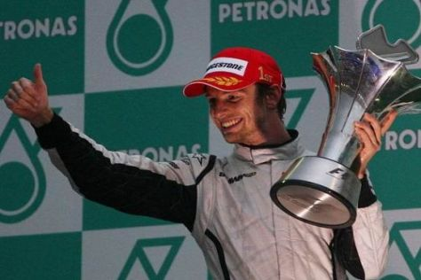 Jenson Button wechselte ständig Reifen, konnte am Ende aber richtig jubeln