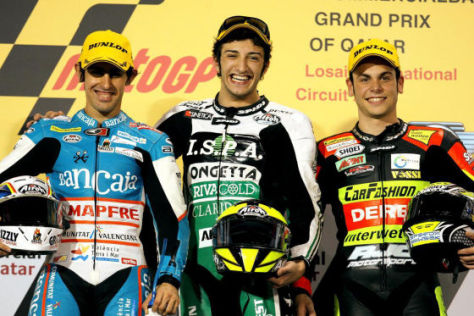 Motorrad-WM 2009, Podium 125er-Klasse, (von links: Julian Simon, Andrea Iannone, Sandro Cortese)