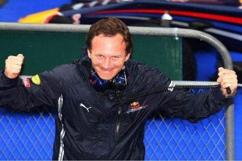Erleichterung nach knapp zwei Stunden: Christian Horner feiert den Doppelsieg
