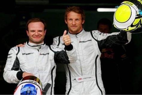 Rubens Barrichello und Jenson Button jubeln über die Startplätze drei und eins