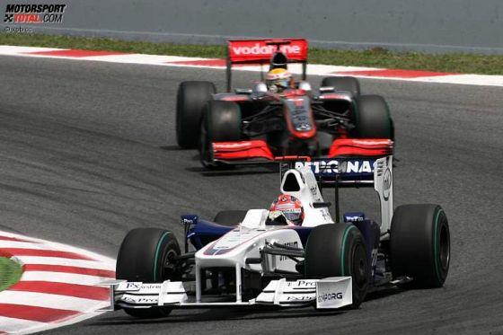 Formel 1, GP von Spanien 2009, Kubica (BMW) vor Hamilton (McLaren-Mercedes)