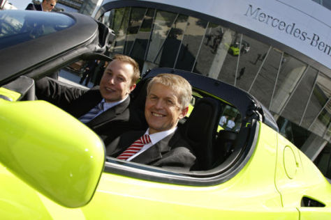 Daimler-Forschungsvorstand Dr. Thomas Weber und Tesla-Chef Elon Musk