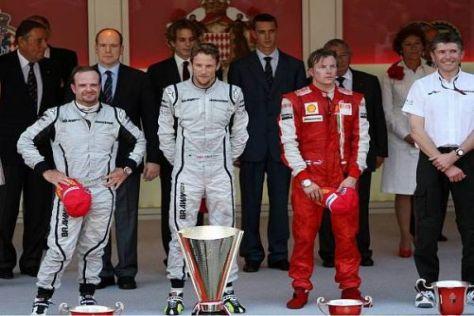 Rubens Barrichello, Jenson Button und Kimi Räikkönen in der Fürstenloge