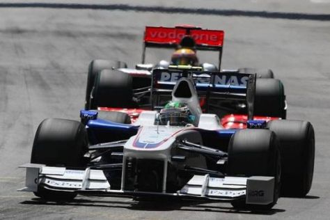 Nick Heidfeld kollidierte in der ersten Kurve mit Lewis Hamilton