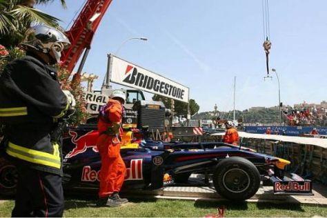 Sebastian Vettels Auto wurde auf der Wiese in der Ste. Devote geparkt