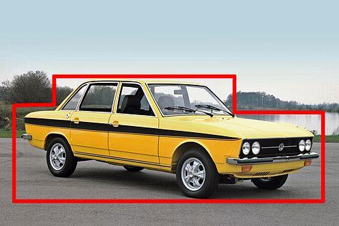 Konsequente Kasten-Klarheit: Der VW K70 steht für die klassische (Kinder-)Art, ein Auto zu zeichnen.