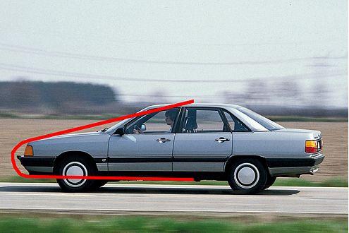 Macht windschlüpfrig: leichte Keilform, flache Nase und stark geneigte Frontscheibe beim Audi 100.