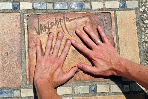 Cannes: Handabdrücke-Anpassen vor dem Filmpalast. Hier: J.C. Van Damme.
