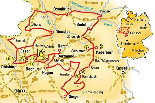 Die Technikstraße: vom Münsterland im Norden bis zum Siegerland im Süden, von Paderborn im Osten bis Bochum im Westen.