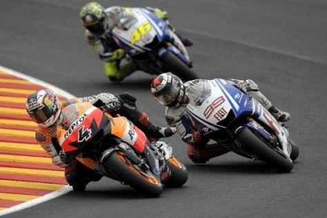 Andrea Dovizioso konnte Jorge Lorenzo und Valentino Rossi nicht halten