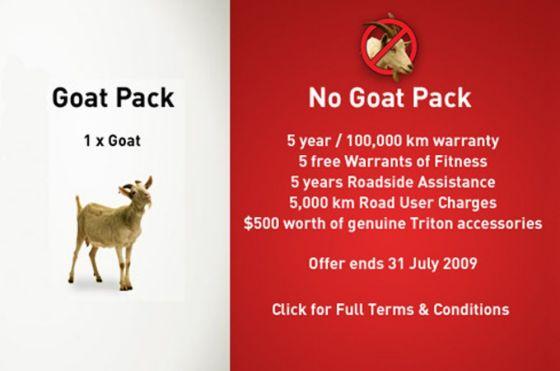 Mitsubishi legt jetzt in Neuseeland seinem Pickup Triton eine Gratis-Ziege bei