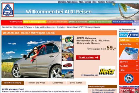 Aldi Mietwagen im Internet