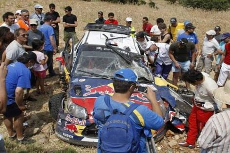 Nach diesem Crash war für Sébastien Loeb die Rallye Griechenland beendet