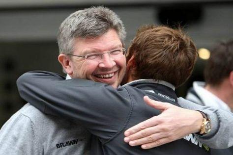 Ein Herz und eine Seele: Teamchef Ross Brawn und Fahrer Jenson Button